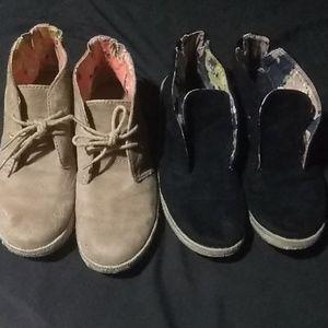 2 pairs, velvet booties